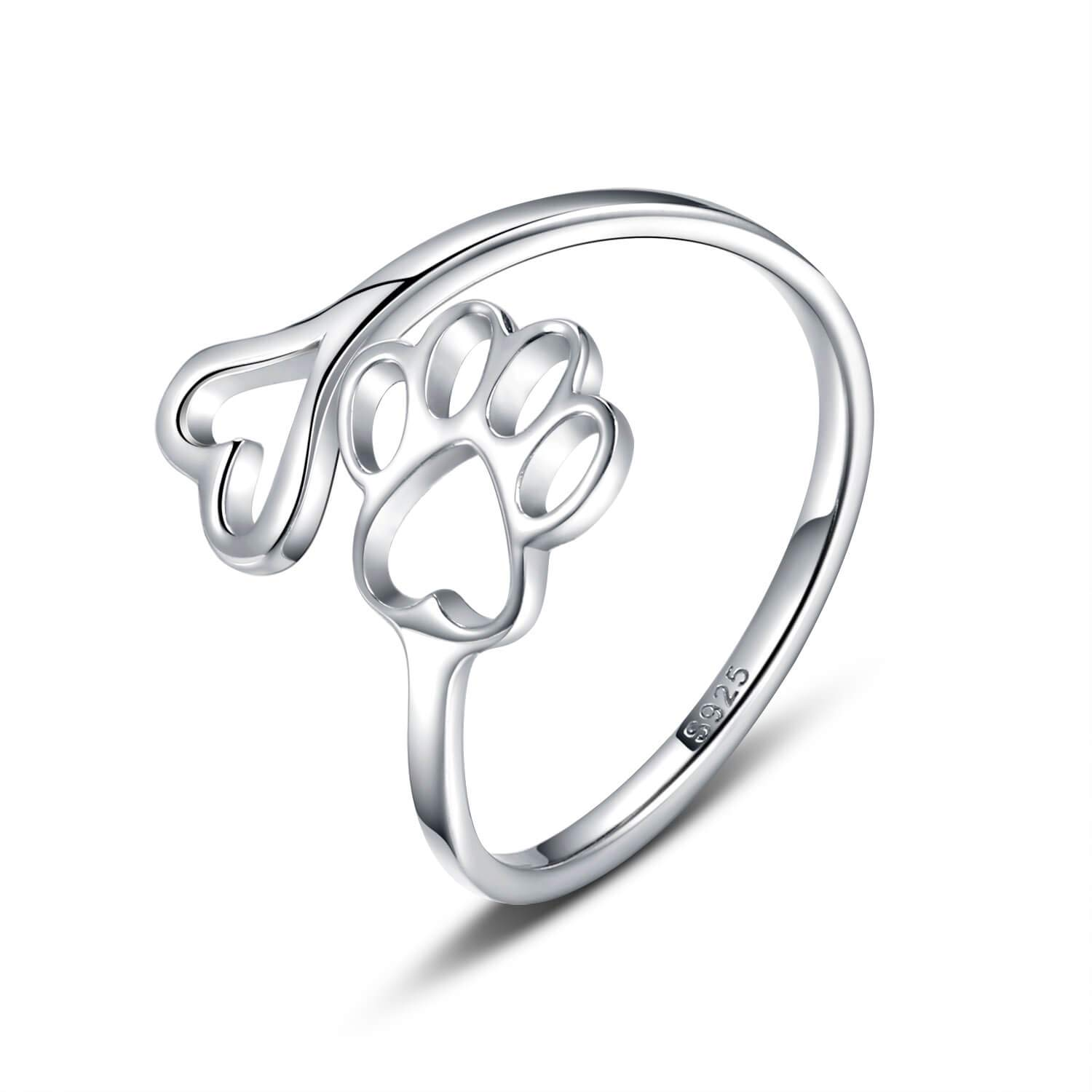 Pet Lovers Paw Print Love Heart 925 Sterling Silver Ring Open Adjustable Ring Pet Animal Jewelry Creative Pierced Love Dog Cat Claw Ring by Sariel