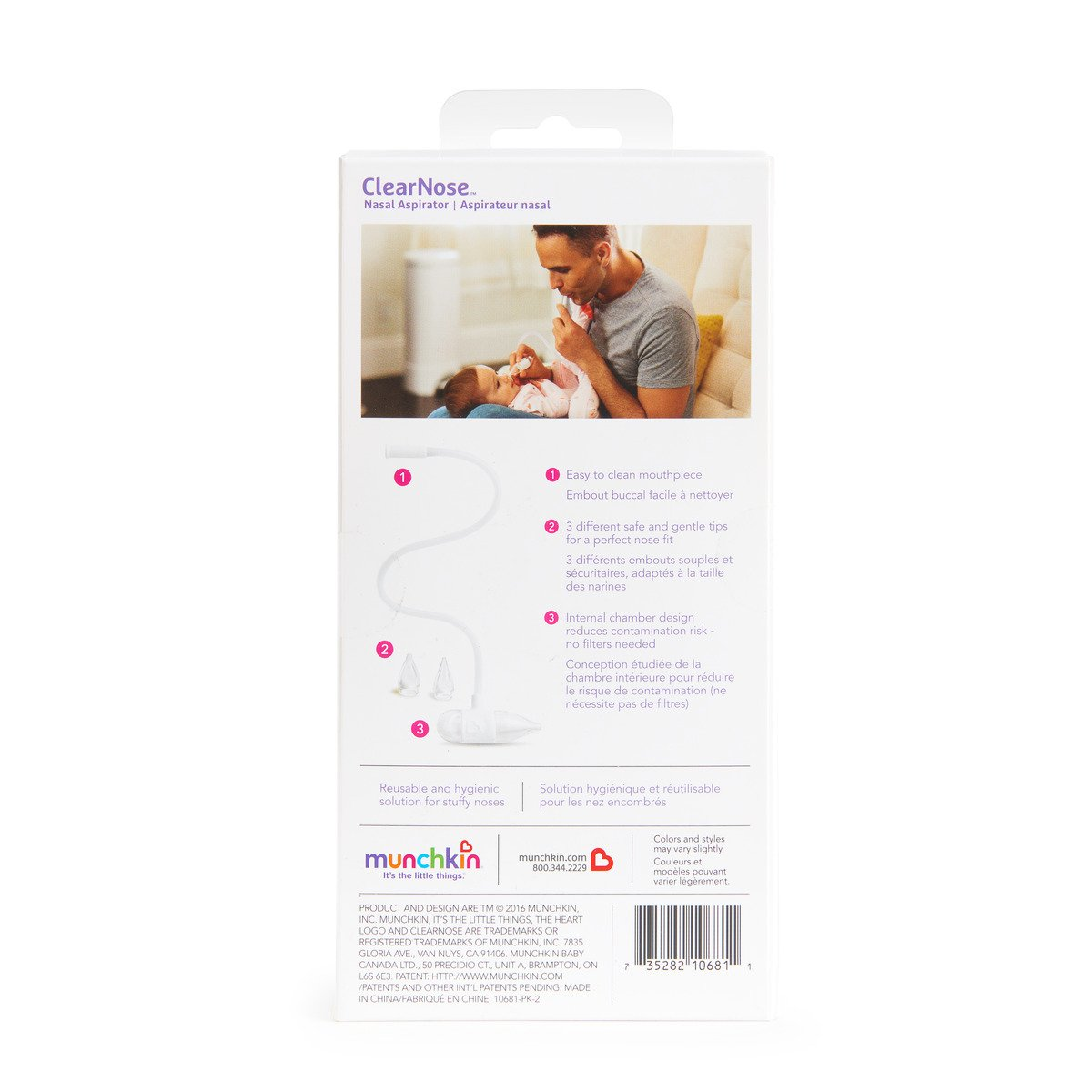 Munchkin Clear Nose Baby Nasal Aspirator, Hygienic Snot Sucker for Stuffy Noses, White