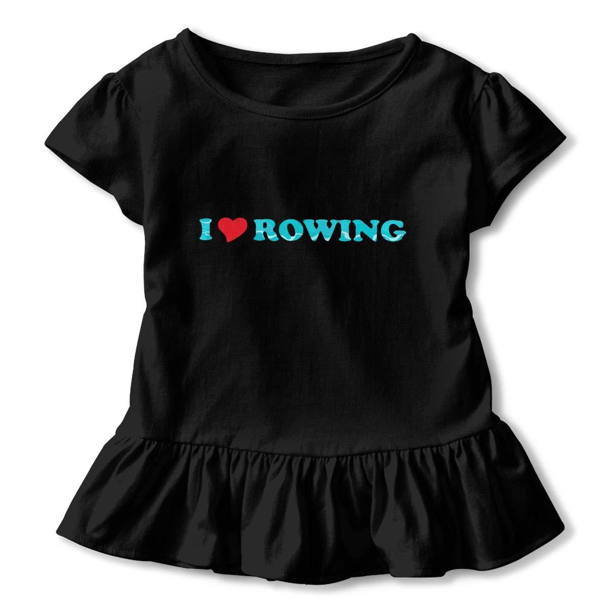 I Love Rowing Heart Toddler Baby Girls Short Sleeve Ruffle T-Shirt