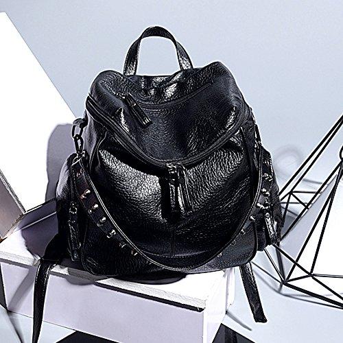 UTO Women Backpack Purse 3 ways PU Washed Leather Rivet Studded Ladies Rucksack Shoulder Bag
