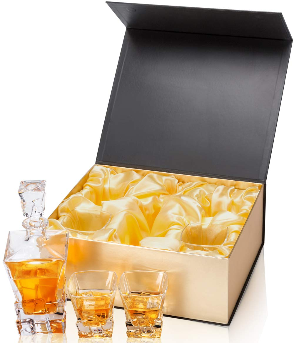 KANARS Iceberg Whiskey Decanter Set With 4 Glasses In Luxury Gift Box - Original Lead Free Crystal Liquor Decanter Set For Scotch or Bourbon, 5-Piece by KANARS (Image #3)