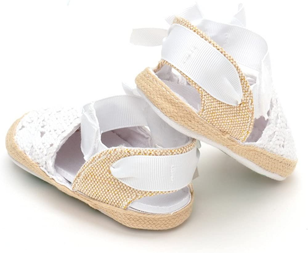 ESTAMICO Infant Girls Net-Yarn Lace Bow Sandals