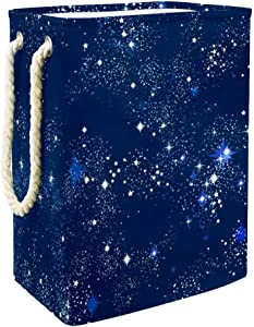 Unicey Space Galaxy Constellation Zodiac Star Laundry Basket Waterproof Storage Basket with Handles for Home Nursery College Dormitory