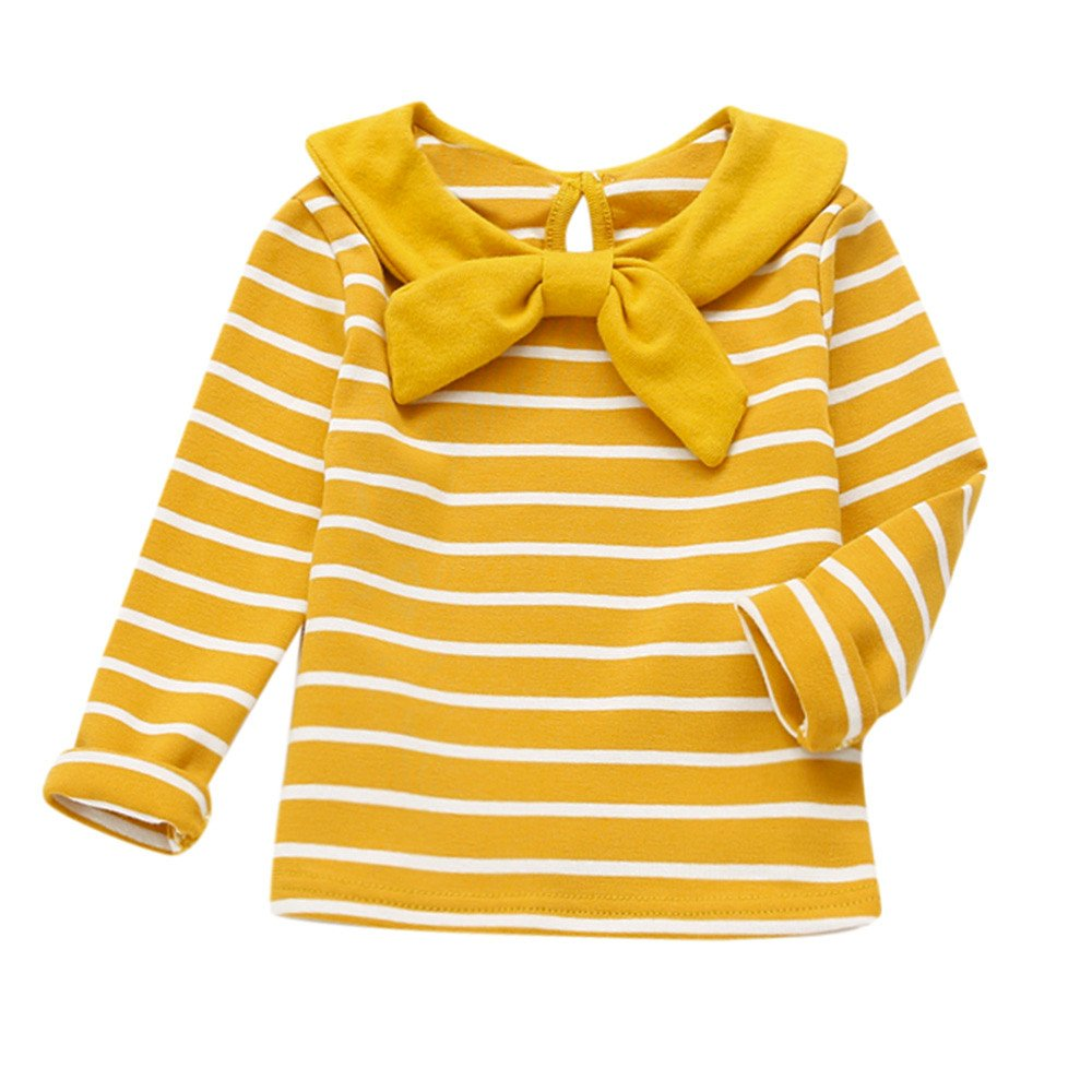 Sweatshirt Bébé CIELLTE Vêtements de Enfant Rayure Stripe Filles Garçons Bowtie Col Haut Top Sweat Pull Manches Longues Confortable Mignon