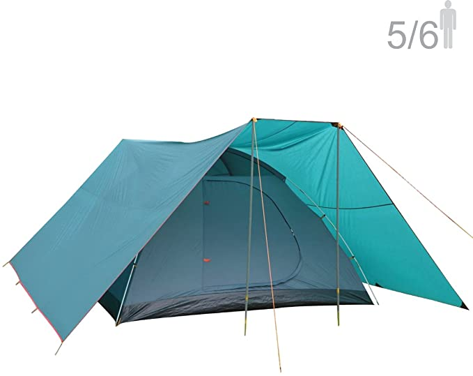 NTK Savannah GT 5 to 6 Person 9.8 by 9.8 Foot Outdoor Dome Family Camping Tent 100% Waterproof 2500mm, Easy Assembly, Durable Fabric Full Coverage Versatile Rainfly, Micro Mosquito Mesh.