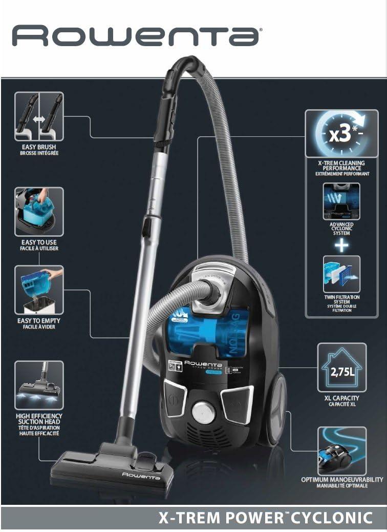 Rowenta RO6235EA Aspirador X-Trem Power Cyclonic Sin Bolsa, 750 W, 82 Decibelios, Acero Inoxidable, plástico, Negro, Azul: Amazon.es: Hogar