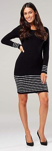 Chelsea Clark Women/'s Stripe Knitted Maternity Dress Long Sleeves 050p
