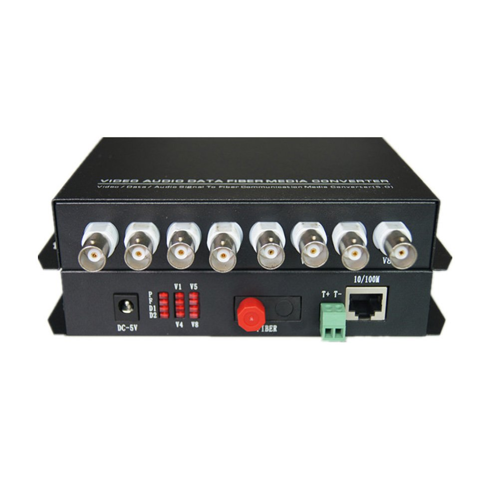 Guantai Video Fiber Optic Media Converters - 8 Channels Video Extender with 10/100Mbps Ethernet RJ45 and RS485 Data - Working Distance 20Km