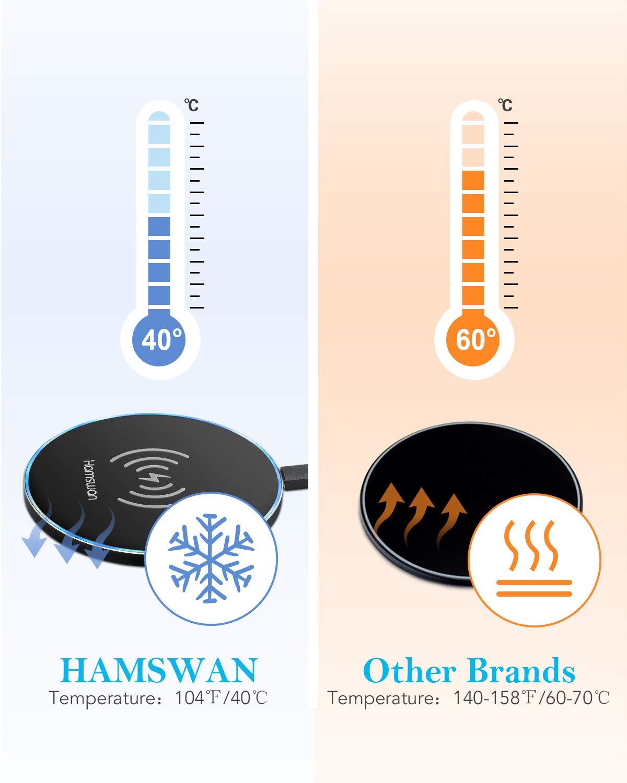 HAMSWAN cargador inalámbrico, 5 W carga inalámbrica para iPhone X/8/8 Plus, 10 W carga inalámbrica rápida para Samsung Galaxy S8/S8 Plus/S7/Note 8 y todos ...