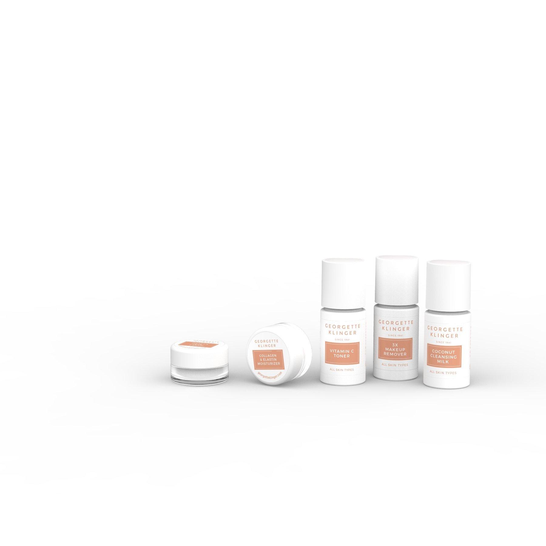 Georgette Klinger 5-Pack Skincare Sample Kit - Travel Size Coconut Cleansing Milk, Vitamin C Toner, 3X Makeup Remover, Collagen & Elastin Moisturizer & Marula Eye Cream
