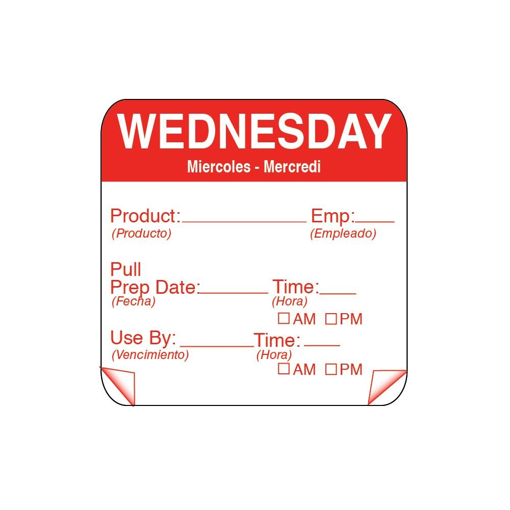 DayMark 115151-3 ToughMark 2'' Wednesday Use By Day Square - 500 / RL