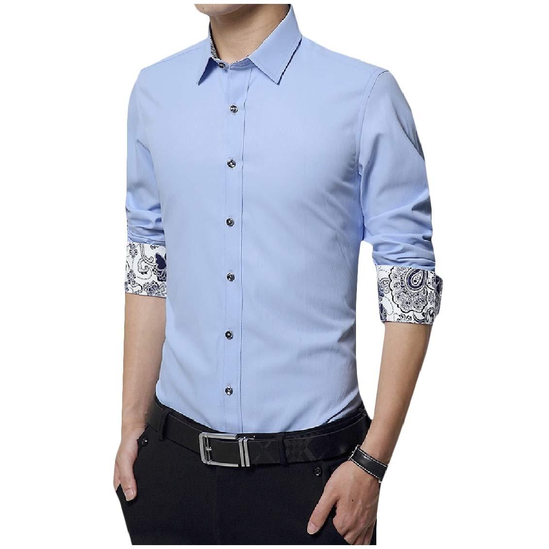 Fieer Mens Button Floral Printed Stitch Plus Size Lapel Fit T-Shirts Shirt