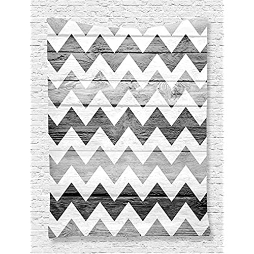 Grey Tapestry Geometric Illustration Decorations By Ambesonne, Chevron  Pattern On Wood Background Design, Bedroom Living Kids Girls Boys Room Dorm  ...