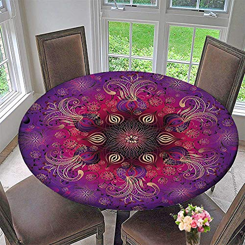 Round Premium Tablecloth Filigree Retro Floral Authentic Persian Elegance Culture Motif Fuchsia Hot Pink Maroon Stain Resistant 59