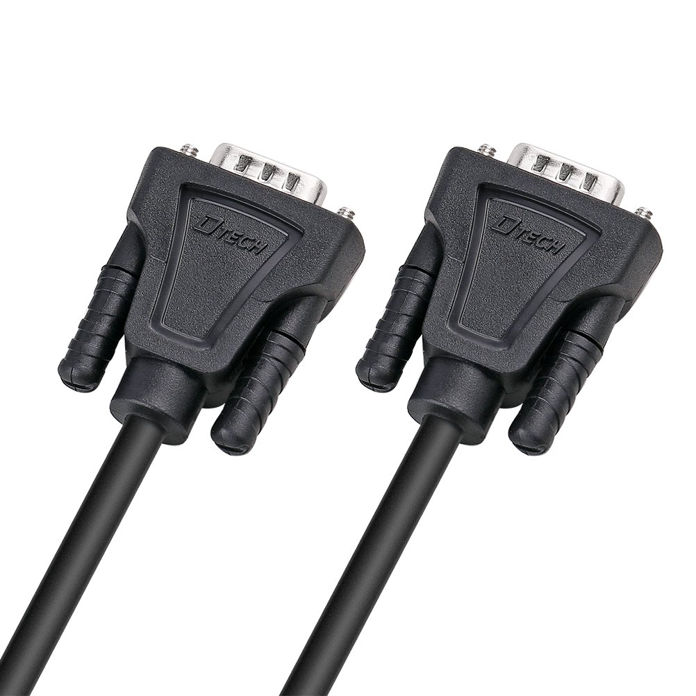DTECH DB9 to DB9 RS232 Serial Cable Male to Male Null Modem Cord Cross TX//RX line for Data Communication 5 Feet, Black