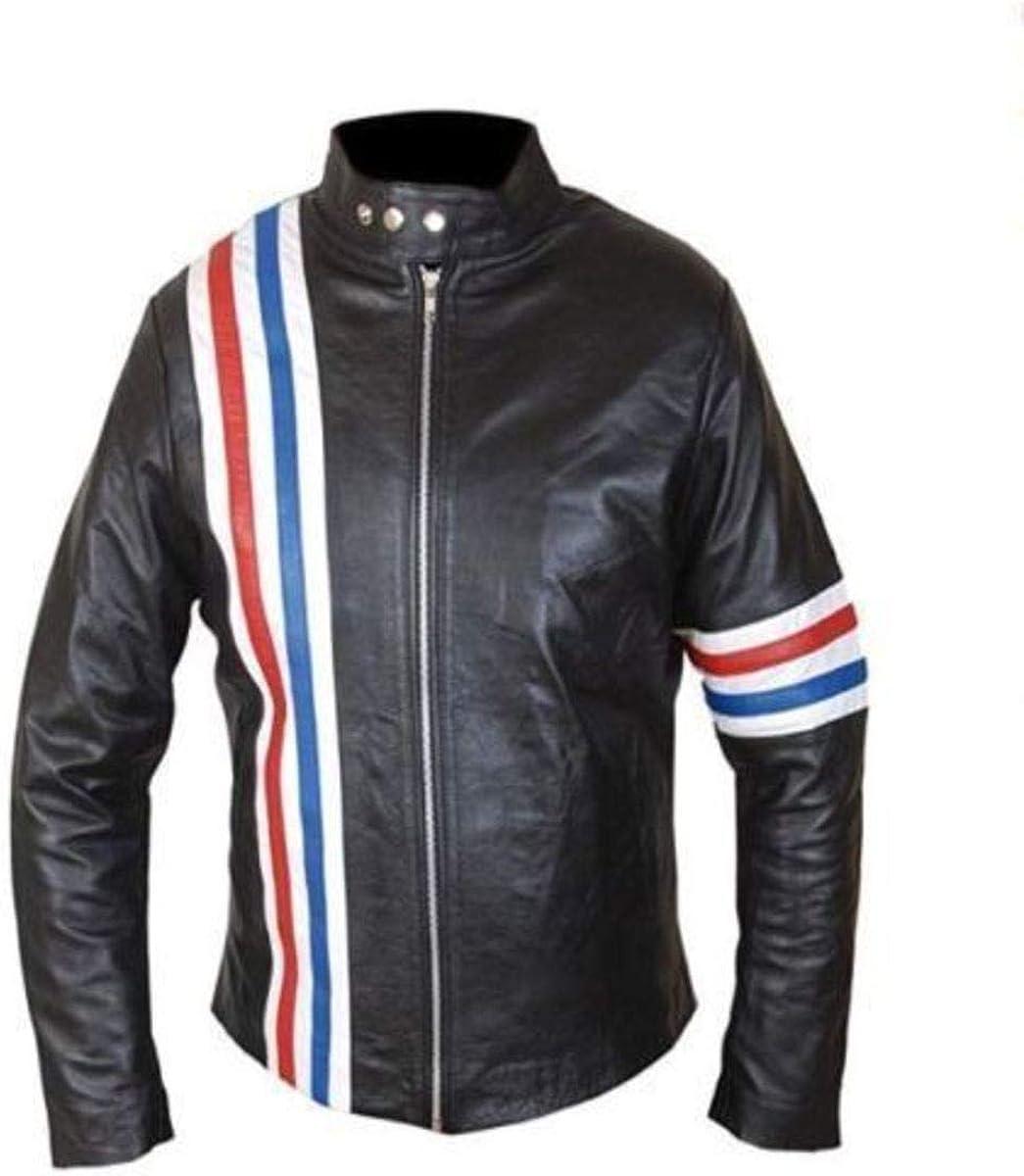 Easy Rider Peter Fonda American Flag Patch Motorcycle Black Sheepskin Leather Jacket
