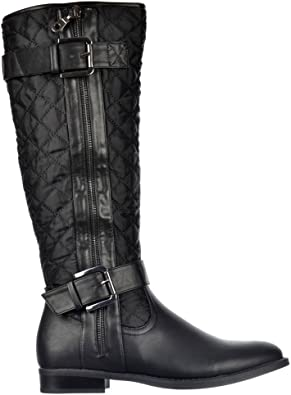 WOMENS LADIES QUILTED LOW HEEL BIKER CALF KNEE HIGH STRAP RIDING BOOTS SIZE
