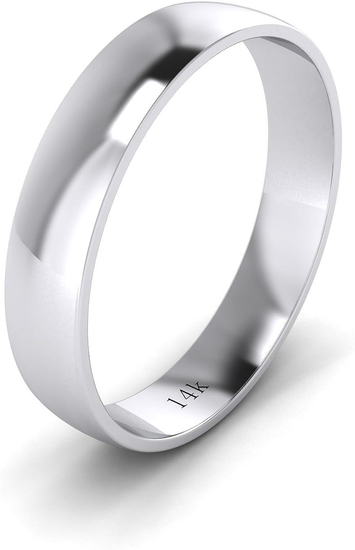 LANDA JEWEL Unisex Solid 14k White Rose Yellow Gold 4mm Comfort Traditional Highly Polished Wedding Ring Plain Band