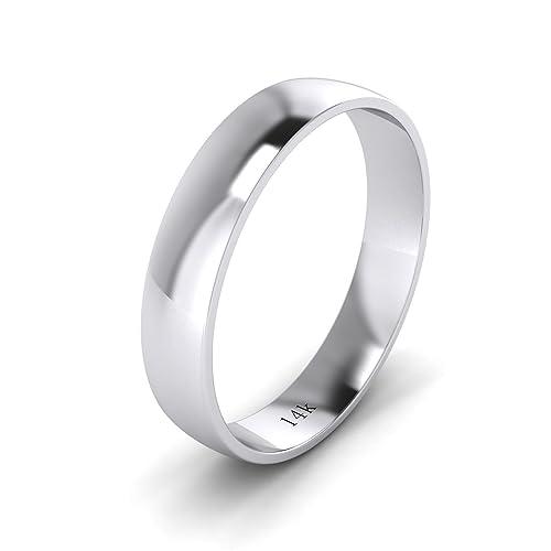 LANDA JEWEL Anillo de boda unisex de 14 K, oro blanco rosa amarillo, 4