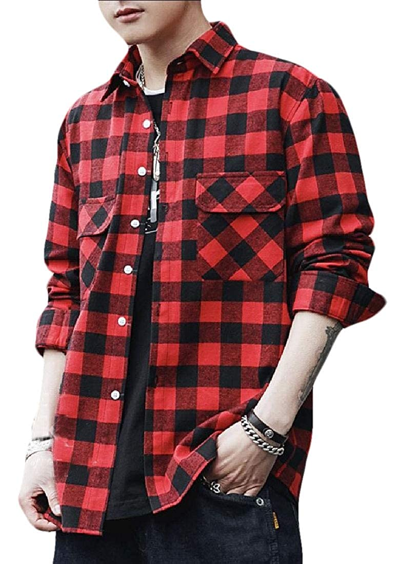 Mens Long Sleeve Work Casual Shirt Tops Plaid Button Down Shirts