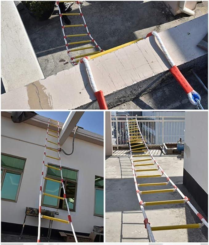 Escalera De Cuerda De Emergencia Para Evacuación En Caso De Incendio - Escalera De Evacuación Con Ganchos - Escalera De Cuerda De Seguridad Contra Incendio Resistente Al Fuego, Despliegue Rápido,25m: Amazon.es: Hogar