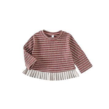 95c449a9e1ff0 ALLAIBB ベビー服 ブラウス 長袖 女の子 キッズ トップス カットソー シャツ ストライプ size 73 (カラー1)