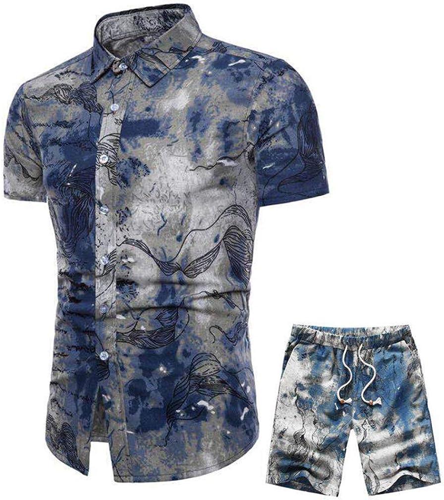 Cofouen Mens 2 Piece Tracksuit Floral Hawaiian Shirt and Shorts Suits Jogging Sweatsuit Sets