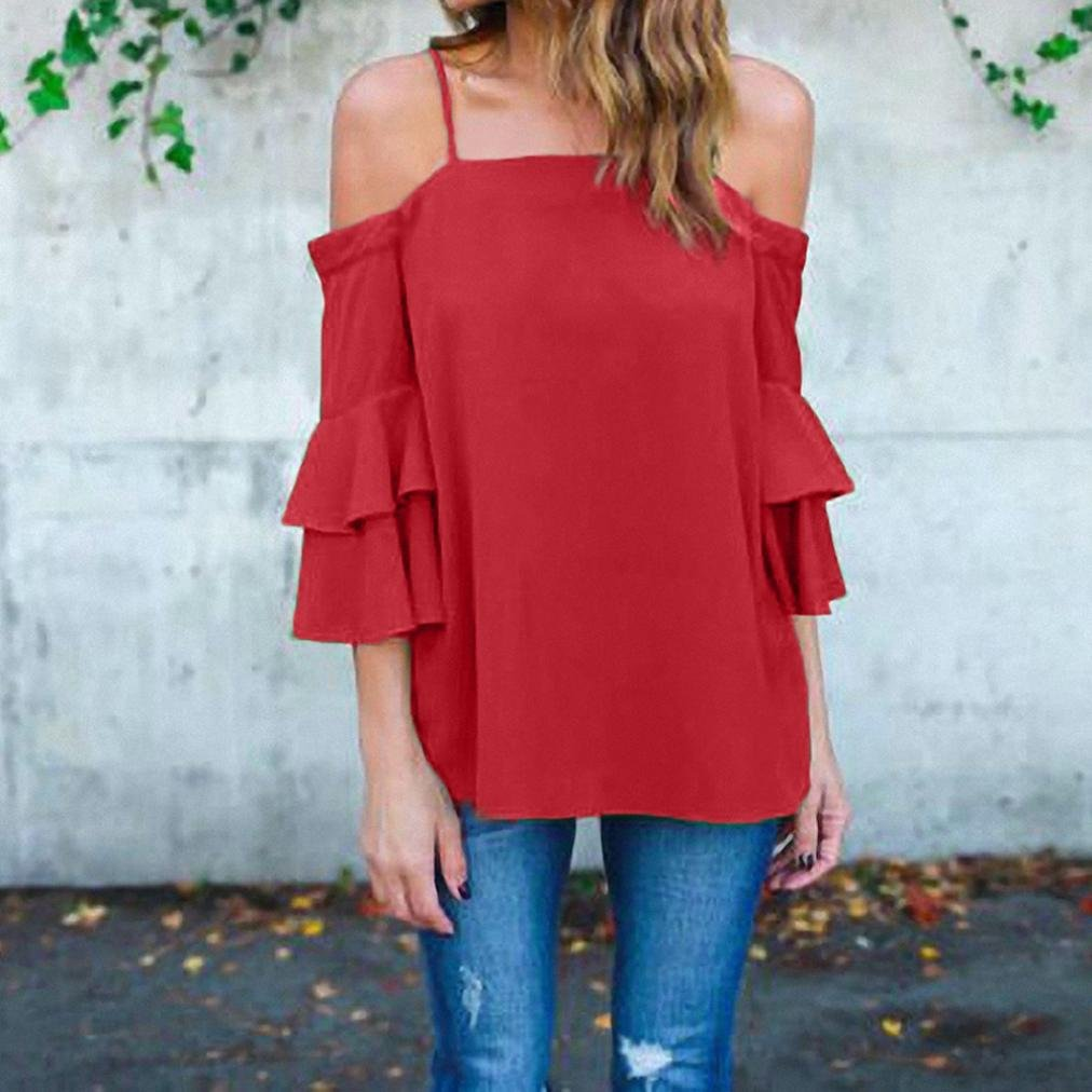 Off Shoulder Blouse, Clearance! AgrinTol Women Tank Top Bell Sleeve Loose Casual Shirt at Amazon Womens Clothing store: