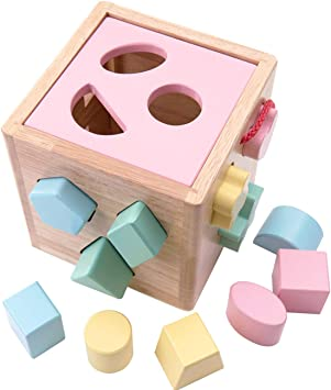 Wooden Shape Sorter Toy Educational Learning Toddler Toy Baby Shape Sorting Cube