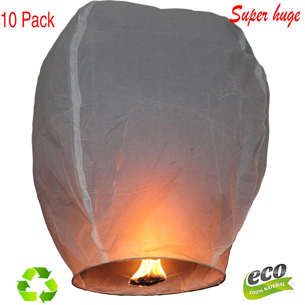 Nuluphu Sky Lanterns 10-Pack,for Any Birthdays, Parties, New Years,Funeral, Memorial Ceremonies, and More(White)