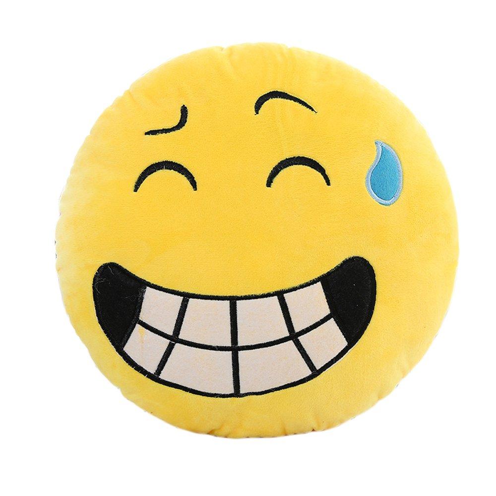 Suave felpa almohada amor beso Emoji Emoticono Cojín redondo ...