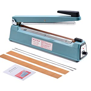 Metronic 16inch/400mm Manual Impulse Manual Hand Sealer Heat Sealing Machine Poly Tubing Plastic Bag with 2 Replacement Kit Blue