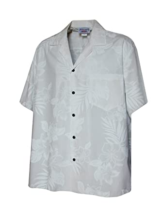 1747e1be Pacific Legend Mens White Wedding Tropical Floral Hawaiian Shirt at ...