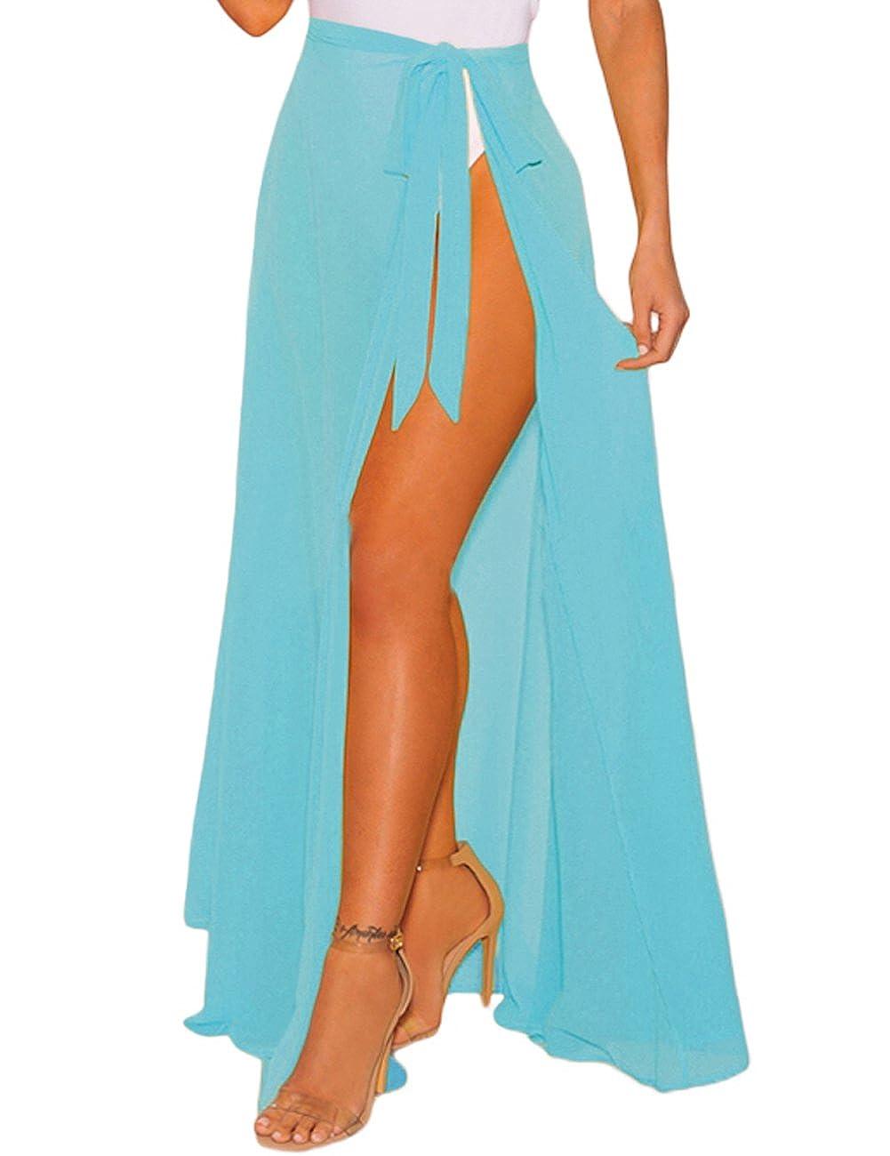Alinemyer Beach Maxi Skirt High Slit Sheer Wrap Skirt Cover up
