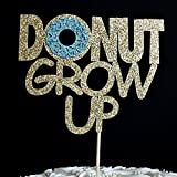 Donut Grow Up Gold Glitter Paper Birthday Cake Topper with Light Blue Glitter Icing