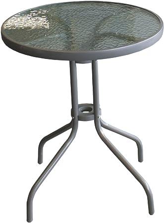 Wohaga® Bistrotisch Ø60cm Glasplatte geriffelt Glastisch Beistelltisch Silber