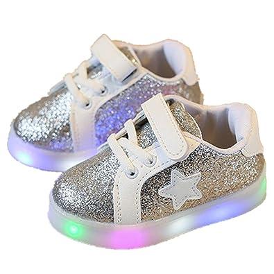 73aaccb66d5d8 Coloré(TM Basket Lumineuse Enfant Chaussure LED Lumière Clignotant Basket  LED- Garçon Fille Baskets