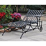 International Caravan Mandalay Metal Patio Chaise Lounge in Brown