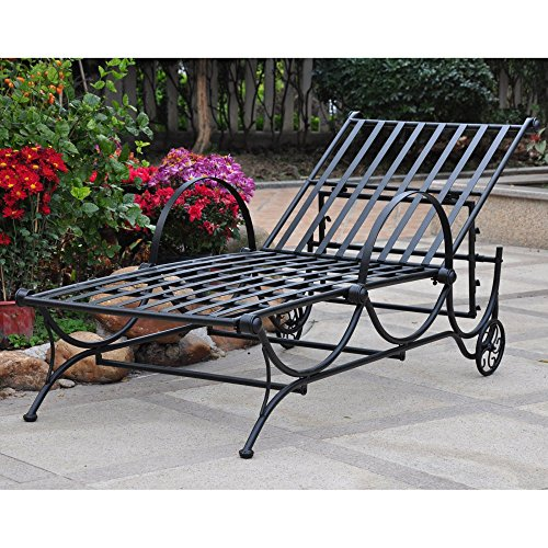 (International Caravan Mandalay Metal Patio Chaise Lounge in Verdigris )