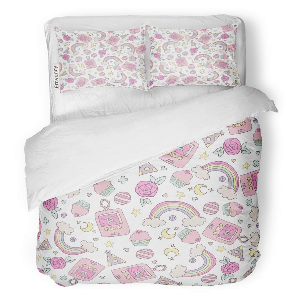 Emvency 3 Piece Duvet Cover Set Brushed Microfiber Fabric Breathable Pink Kawaii Cute with Rainbow Cupcakes Roses and Retro Electronic Toy Colorful Bedding Set with 2 Pillow Covers King Size by Emvency