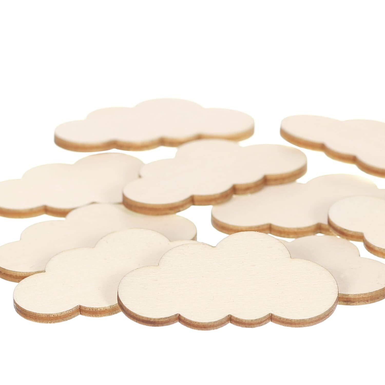 Gr/ö/ße:Wolken 7cm breit Pack mit:25 St/ück 1-60cm Streudeko Basteln Deko Tischdeko Holz Wolken