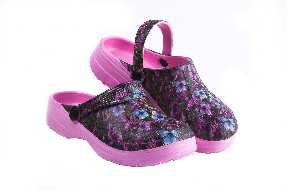 Kids Waterproof Premium Garden Clog-,Butterfly Design