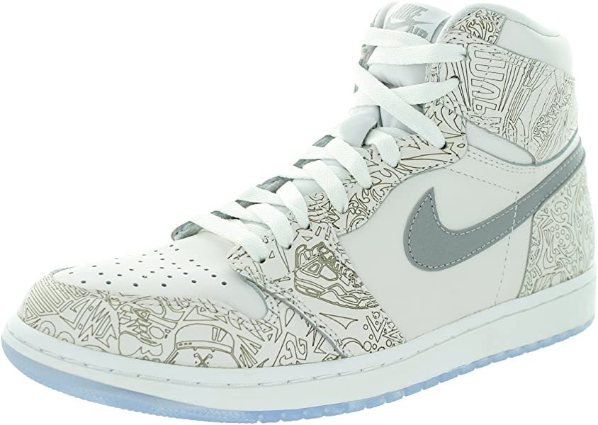 buy popular a3cc2 2ded7 Jordan Nike Men s 1 Retro Hi Og Laser White Metallic Silver Basketball Shoe  9 Men