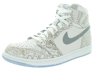 Jordan Nike Men's 1 Retro Hi Og Laser White/Metallic Silver Basketball Shoe  10 Men