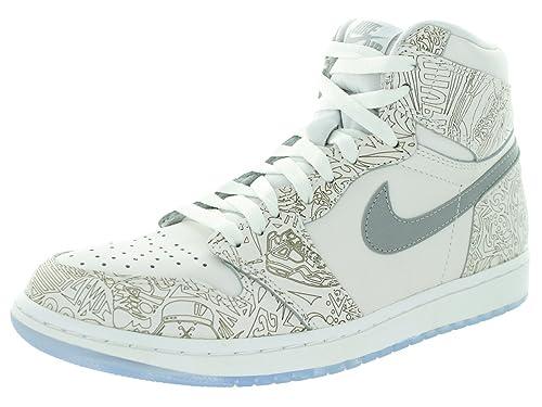hot sale online c0d6c db1ce Nike Air Jordan 1 Retro HI OG Laser, Zapatillas de Deporte Exterior para  Hombre, Blanco Plateado (White Metallic Silver), 49 EU  Amazon.es  Zapatos  y ...