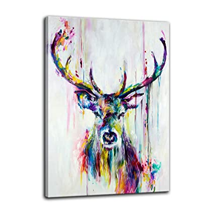 Animal Poster Abstract Print Watercolor Deer Head Stag Wall Art Canvas Painting For Home Office Living Room Wall Decor Framed Ready To Hang