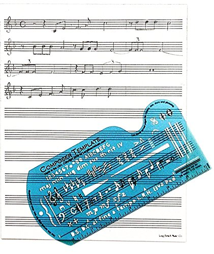 Writing Music Part - Song Writer's Composing Template Stencil for Music Notes & Symbols with Manuscript Staff Paper Tablet