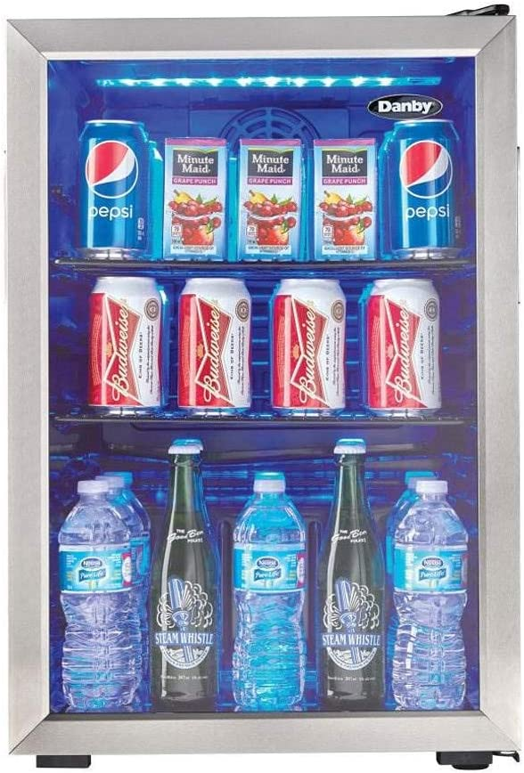 Danby DBC026A1BSSDB 95 Can Beverage Refrigerator 2.6 Cu.Ft. Bar Fridge for Basement, Dining, Living Room, Drink Cooler Perfect for Beer, Pop, Water, Packs, Black/Stainless-Steel
