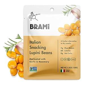 BRAMI Lupini Beans Snack, Garlic & Rosemary | 7g Plant Protein, 0g Net Carbs | Vegan, Vegetarian, Keto, Plant Based, Mediterranean Diet, Non Perishable | 5.3 Ounce (8 Count)