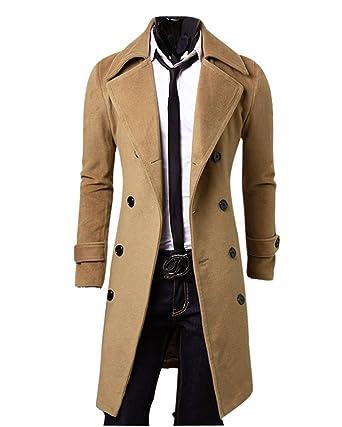 ZiXing Abrigo para Hombre Invierno Hombres Slim con Estilo Trench Coat Double Breasted Chaqueta Larga Parka: Amazon.es: Ropa y accesorios